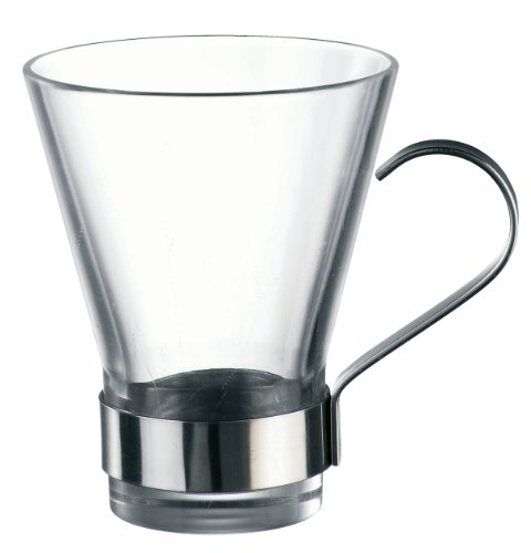Bormioli Rocco Ypsilon Coffee Cups with Metal Handle, Clear, Set of 24 ()
