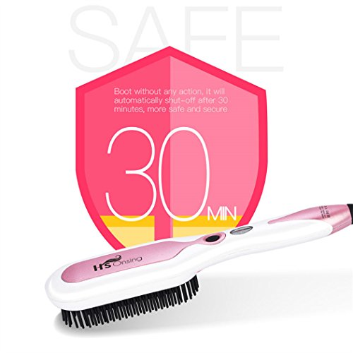 Hair Straightener Brush, inkint Ceramic Hair Straightening Brushes for Women with LED Temperature Display Anti-scald Auto-off Function for All Hair Types and Length by inkint (Image #4)