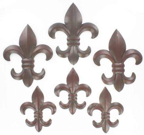 6 Pc. Set Metal Fleur De Lis Wall Plaques - 6