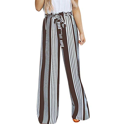 JOFOW Women's Trousers,Casual Holiday Loose Striped Elastic Band Belt Tie High Waist Long Maxi Wide Leg Pant for Women ()