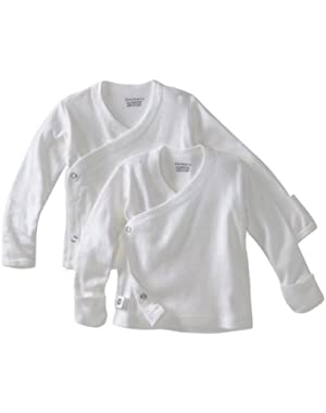 Unisex White 2 pk Long Sleeve Side Snap Shirt (0-3 Months)