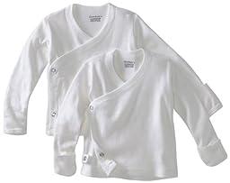 Unisex White 2 pk Long Sleeve Side Snap Shirt (0-3 Months)