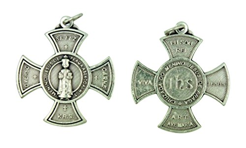Religious Gifts by San Francis Imports, Inc Infant of Prague Crucifix 1 1/4 Inch Silver Tone Maltese Cross