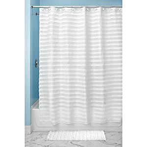 Interdesign Tuxedo Stall Size Shower Curtain, White, 54 Inches X 78 Inches