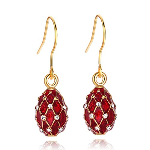 TF Charms Egg Charm Earrings with Swarovski Crystals Elements,925 Sterling Silver Hooks (Red)