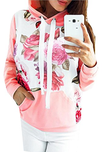 fan products of Alion Women's Autumn Long Sleeve Cotton Slim Fit Print Flower Drawstring Hooded Sweatshirt Pink XS