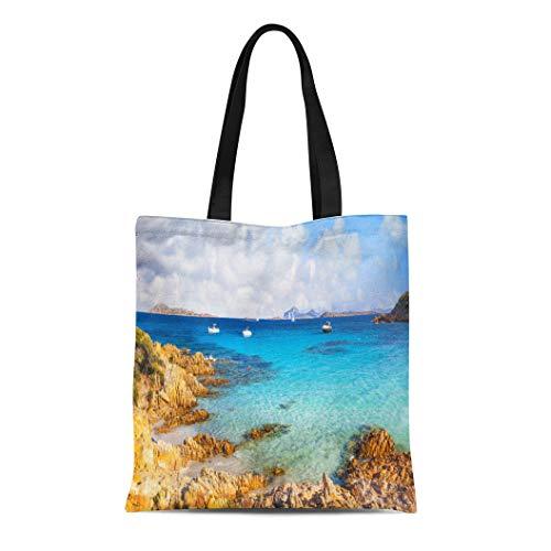 Semtomn Canvas Tote Bag Shoulder Bags Sardinia Blue Island Sardegna Holidays Italy Coastline Tavolara Azure Women's Handle Shoulder Tote Shopper Handbag