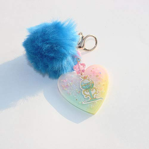 Candy Bag Charm - Pastel Kawaii Blue Sailor Moon Trophy Heart Key charm With Faux BluePink Pom Pom Glitter Candy Jar/Bag Charm/Keychain/ Key Charm Accessories
