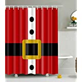 DENGYUE Santa Clause Costume Shower Curtain Black Belt With Golden Buckle Against Red Coat
