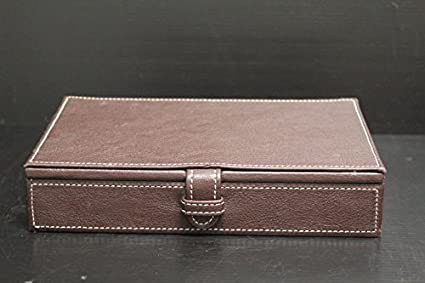 Artikle Leather Corporate Stitched Brown Leather Desk Organizer with Hinged Lid ~ 8