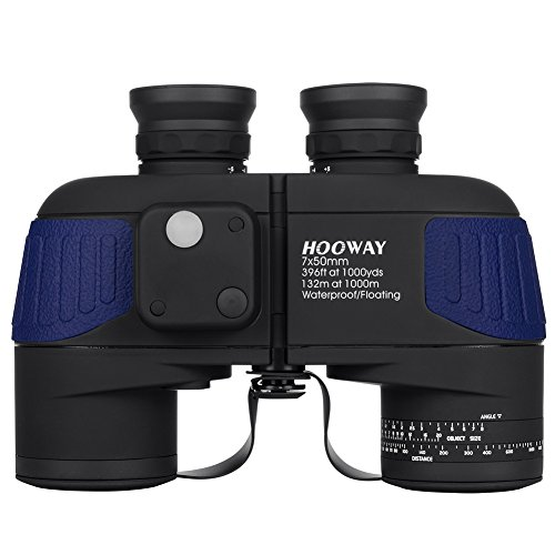 Waterproof Fogproof Military Marine Binoculars,Hooway 7x50 Binoculars with w/Internal Rangefinder & Compass for Navigation,Boating,Water Sports,Hunting,Bird Watching(Blue)