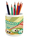 Ambesonne Vintage Pencil Pen Holder, Bingo Game with Ball and Cards Pop Art Stylized Lottery Hobby Celebration Theme, Printed Ceramic Pencil Pen Holder for Desk Office Accessory, Multicolor
