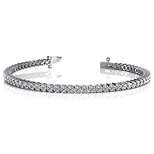 Platinum Diamond Round Brilliant 2 Prong Set Tennis Bracelet (5.04ctw.) - Size 7
