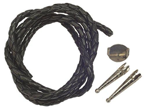 (Bolo Tie Parts - TWO Bolo Tips + 16mm Slide Silver Tone+ 34