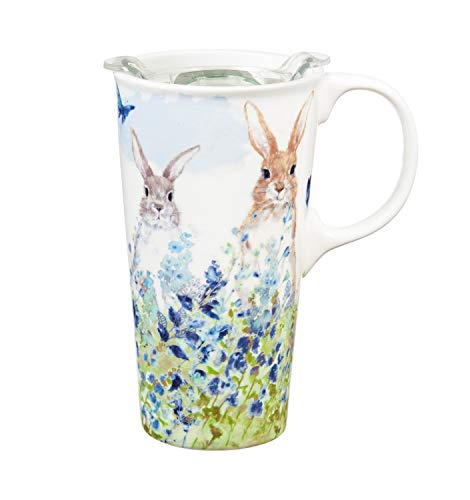 Bunnies in the Meadow 17 OZ Ceramic Travel Cup - 4 x 5 x 7 Inches -