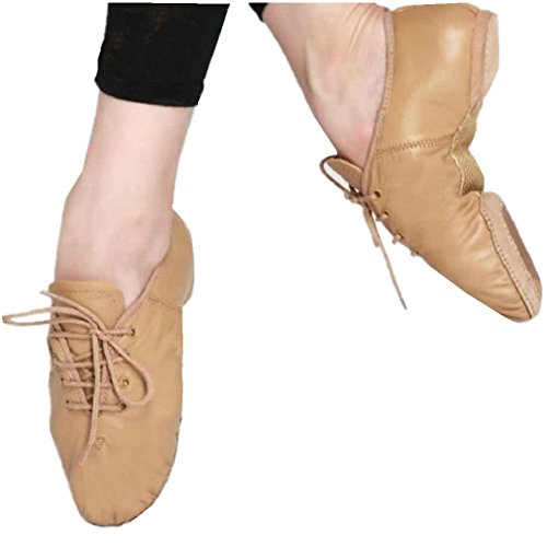 Lace Jazz Split Up Shoes Genuine Leather Ballet Dance Girls Brown Sole Boys 5wf0g0