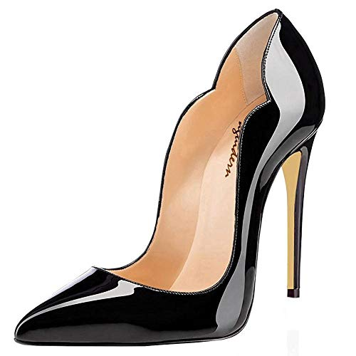 Maguidern Pumps Shoes 5 inches High Heels, Wedding and Party Dress Stiletto Pumps Pointed Toe Shoes Black Size -