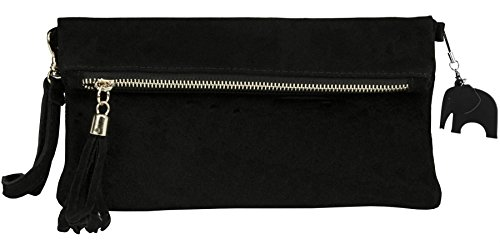 Black Suede Leather Clutch - 7