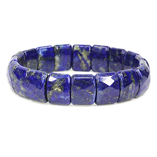 (Amandastone Natural Lapis Lazuli Genuine Semi Precious Gemstone 15mm Square Grain Faceted Beaded Stretchable Bracelet 7