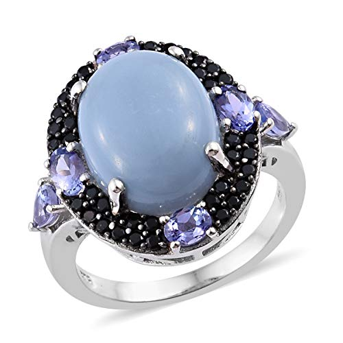 (Blue Opal Tanzanite Ring 925 Sterling Silver Platinum Plated Jewelry for Women Size 10)
