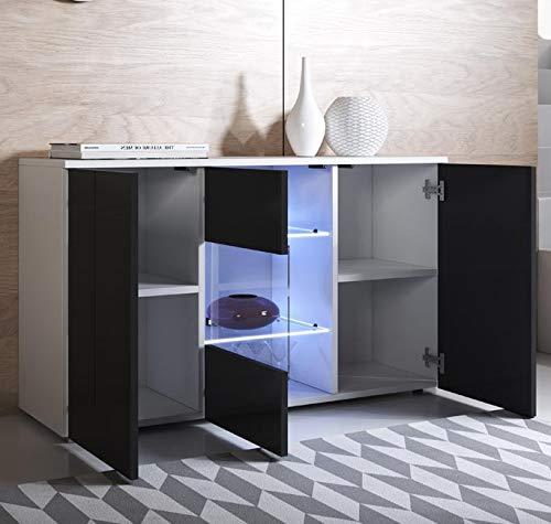 Colore Bianco e Nero con Piedini Standard 120x72cm muebles bonitos Letti e Mobili Credenza Modello Luke A2 con LED