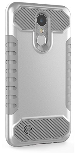 LG K20 Plus Case, LG K20 V Case, Moment Dextrad [Non-slip Grip] [Dual Layer] Shockproof Slim Anti-Scratch Heavy Duty Protection Case Cover for LG K20V / LG K20 plus / LG Harmony (Silver / Gray) (Silver Cover Phone)