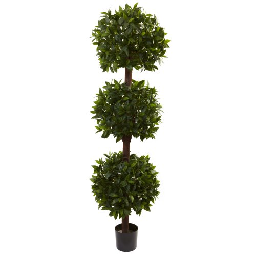 - Nearly Natural 5399 Sweet Bay Triple Ball Topiary, 6.5-Feet, Green