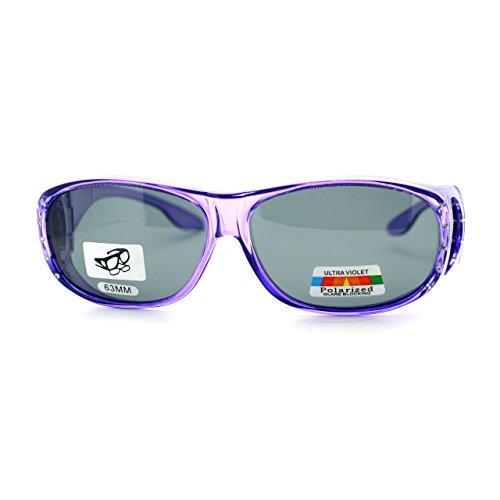Womens Polarized Fit Over Glasses Rhinestone Sunglasses Oval Rectangular Purple
