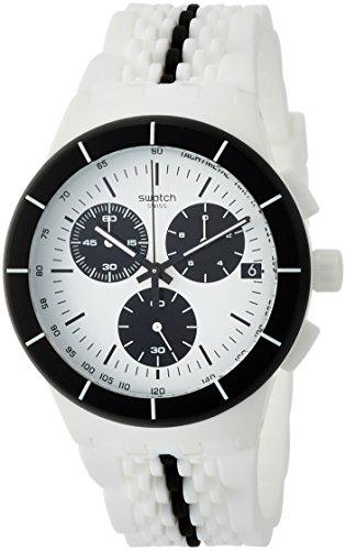 Tone Two Silicone - Swatch Piste Noire White Dial Two Tone Silicone Strap Men'S Watch Susw407