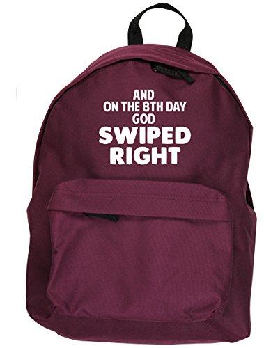 HippoWarehouse And On The 8th Day God Created Swiped Right kit mochila Dimensiones: 31 x 42 x 21 cm Capacidad: 18 litros Granate