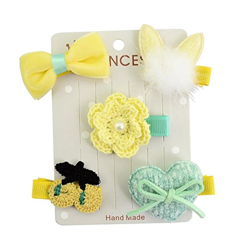 Deserve to Buy 5Pcs/Set Girls Kids Baby Bow Cartoon Motifs Party Hairpin Girls Hair Clip Set