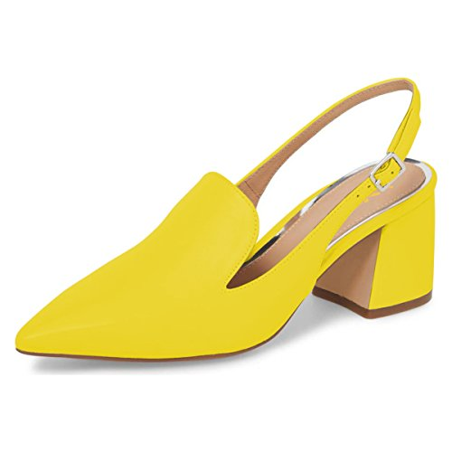 XYD Women Formal Pointed Toe Block Mid Heels Slingback Loafer Shoes Slip On Office Pumps Size 8 Yellow