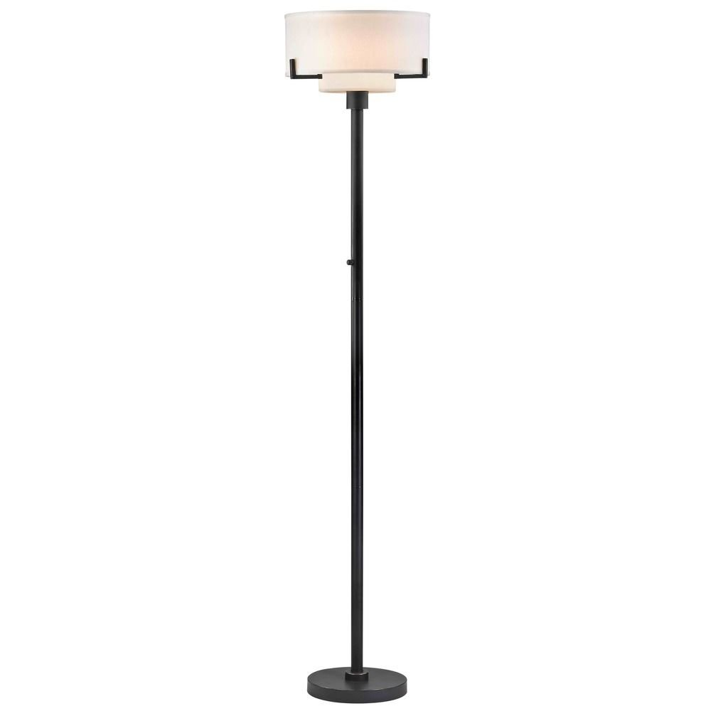 Modern Torchiere Lamp with White Glass in Bronze Finish by Design Classics