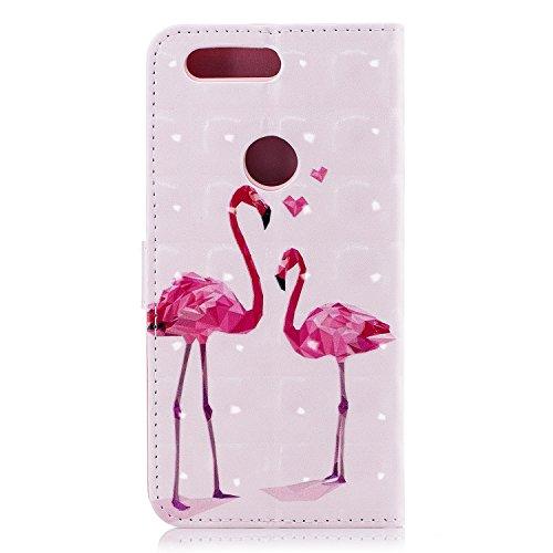 Funda con Tapa para OnePlus 5T, Vandot 3D Creativa Diseño de Flamenco Pintado Impresión Estuche Carcasa Premium PU Cuero Magnético Flip Case Cover con Función de Soporte y Ranuras para Tarjetas Caja d CHPT-8