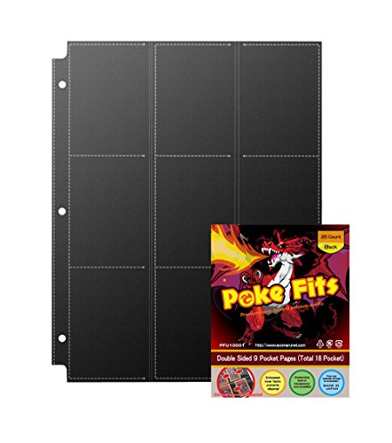 JAPAN QUALITY- Poke Fits Non Slip Trading Card Protectors Black (25 Count) Double Sided 9 Pockets Page (Total 18 Pockets for a sheet) For Collecting Card (9 Pocket Trading Card)