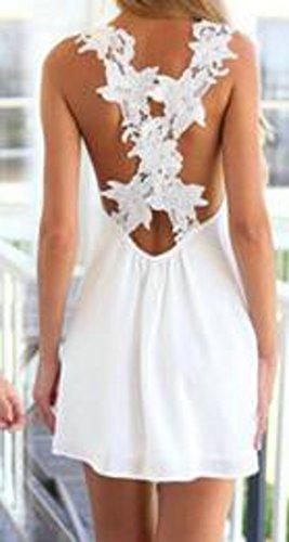 Coeur Mignon C & H Femmes V-cou Élégante Robe De Plage Sans Manches En Dentelle Mousseline Backless Blanc