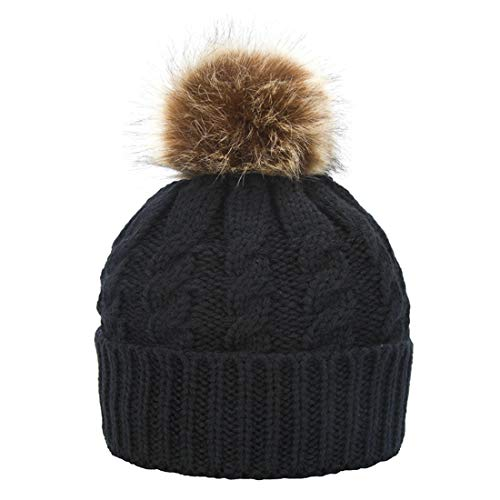 Janrely Womens Winter Hand Knit Faux Fur Pompoms Beanie Hat (Black) ()