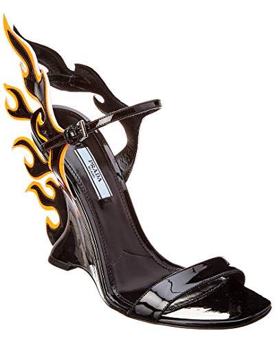 (Prada Flame Patent Wedge Sandal, 35, Black)