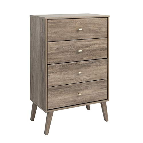 Prepac Milo Mid Century Modern 4 Drawer Chest in Drifted Gray