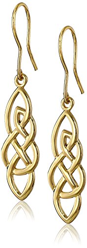 Set Celtic Love Knot (Gold Plated Sterling Silver Elongated Celtic Knot Drop Earrings)