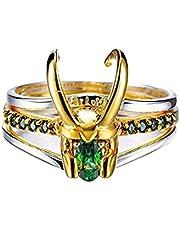 YOISMO Loki Ring - 3-in-1 Loki Ring film Cosplay kostuumaccessoires sieraden ringen, zilveren Thor ring voor vrouwen mannen Marvel fans sieraden geschenk ring