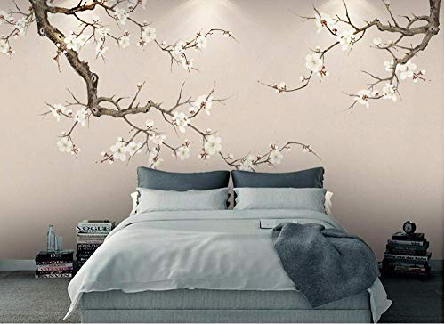 (ZYYWAN Custom Wallpaper White Plum Backdrop New Chinese Suzuki Plum Blossom Papel De Parede 3D-300cmx210cm)