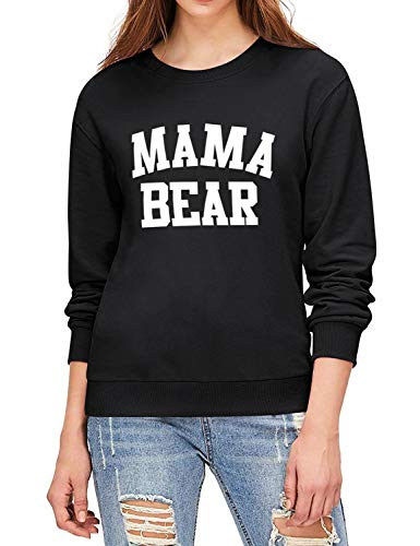 Nlife Women Casual Mama Bear Sweatshirts Crew Neck Long Sleeve Pullover Tops Blouse