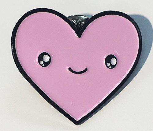 Cute Pink Heart Kawaii Face Enamel Lapel Pin