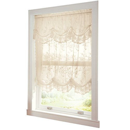 Allison Balloon Lace Curtain And Valance Ivory Machine Washable