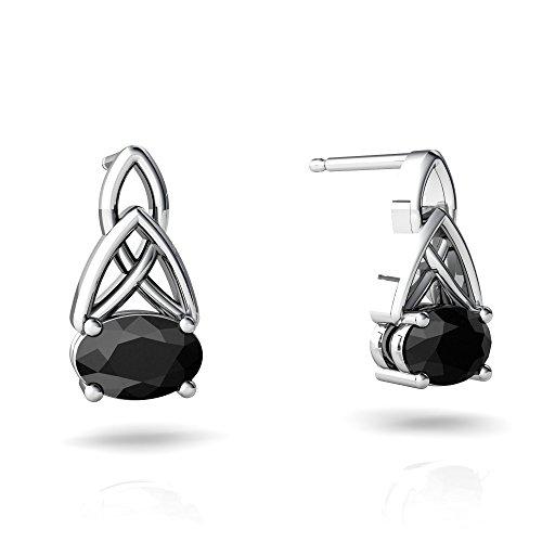- 14kt White Gold Black Onyx 6x4mm Oval Celic Trinity Knot Earrings