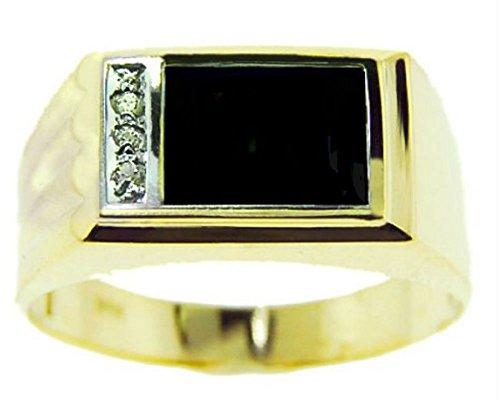 (Mens Onyx & Diamond Ring 14K Yellow Gold)