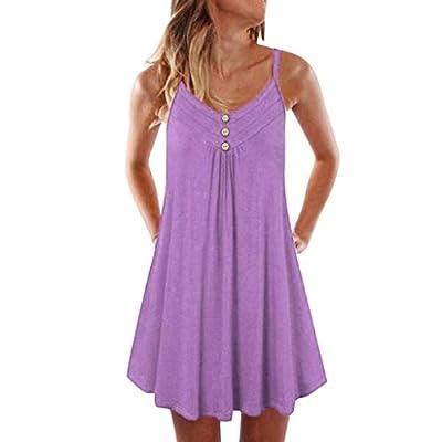 COOKI Women Dresses Casual Plus Size Short Dress Sleeveless Spaghetti Strap Mini Dress Beach Summer Tunic Dress Shift Dress at  Women's Clothing store