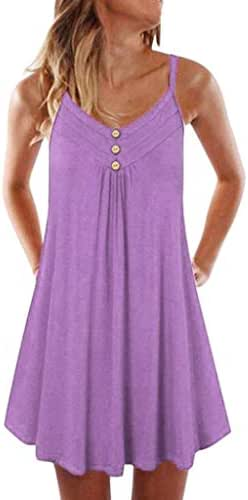 DONTAL Women Dress Sleeveless Spaghetti Strap Double Breasted Plain Shift Dress Above Knee Mini Dress