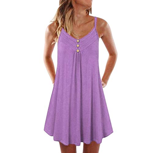 Holiday Dresses Hot - Women's Casual Summer Tank Sleeveless Knee Length Pleated Sun Dresses Cami Tank (L, Hot Pink1)
